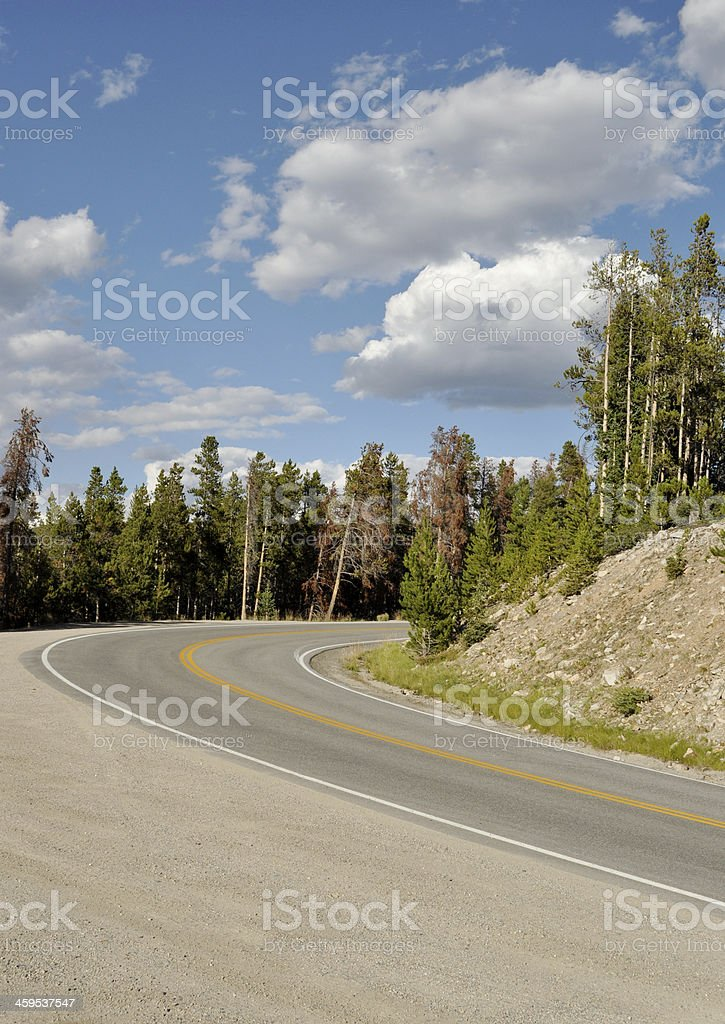 Curve in a Mountain Road stock photo