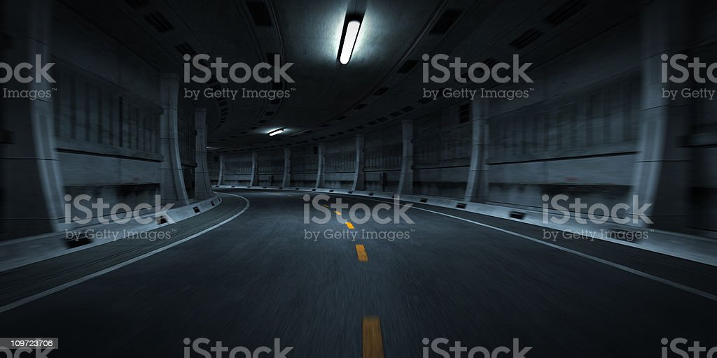 Curve in Road of Tunnel stock photo