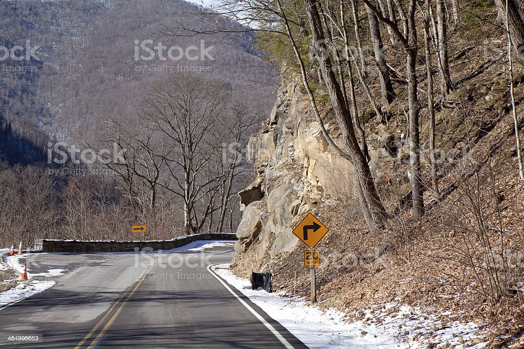 Curve in road through the Great Smoky Mountains National Park royalty-free stock photo