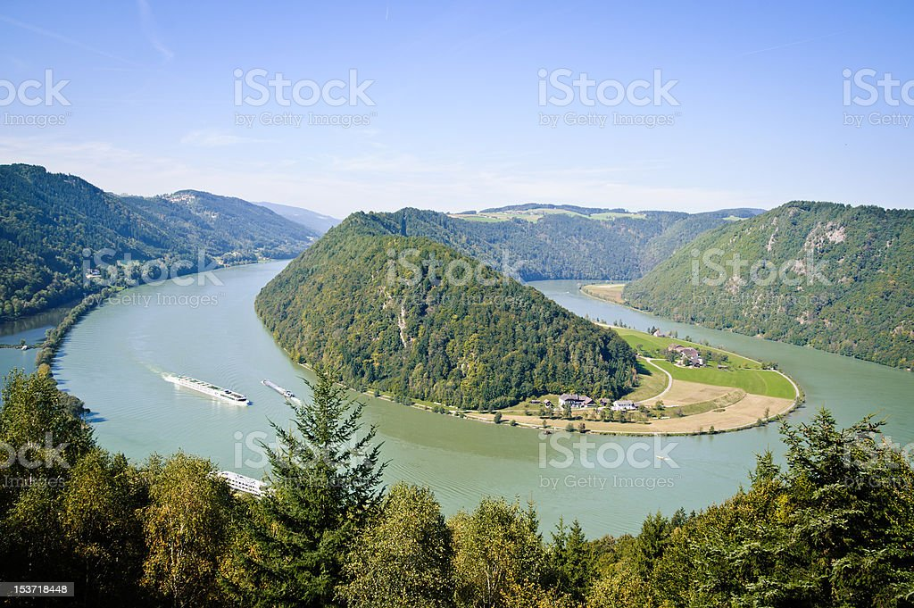 Curve of Danube River stock photo