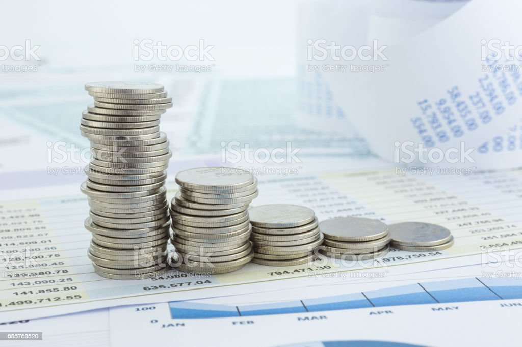 Curve of money coins stacks stock photo