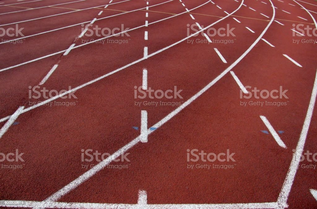 Curve of running tracks stock photo