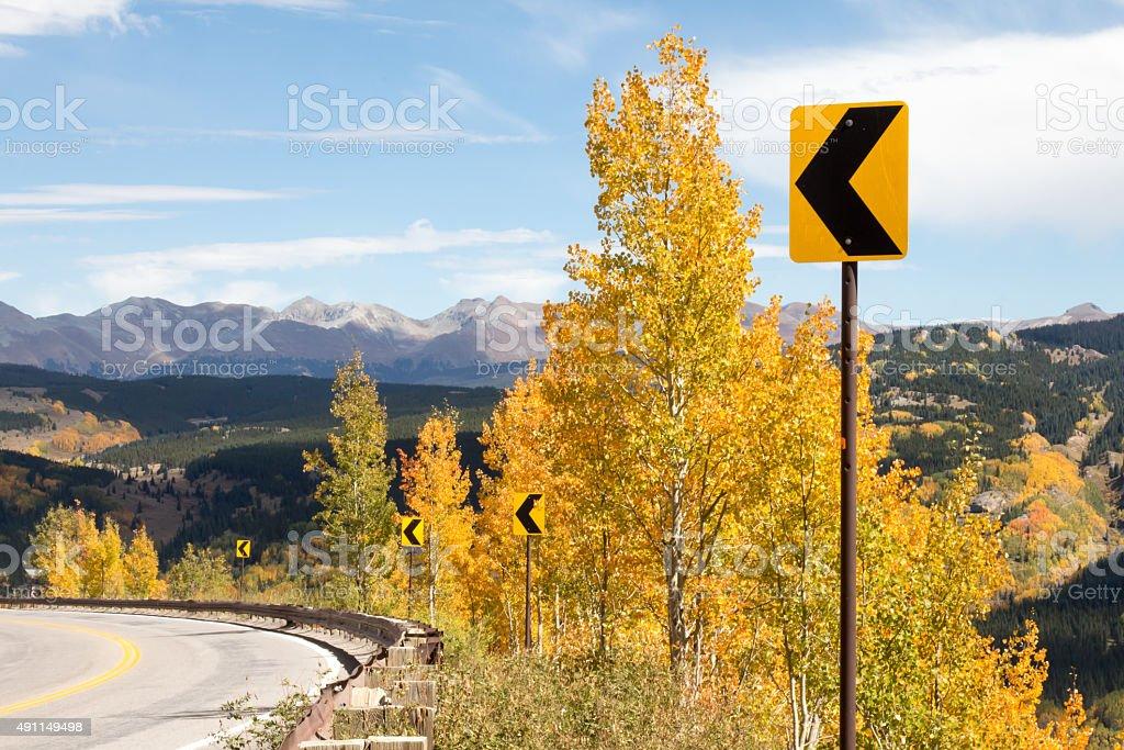 Curve on the Million Dollar Highway in the Autumn stock photo