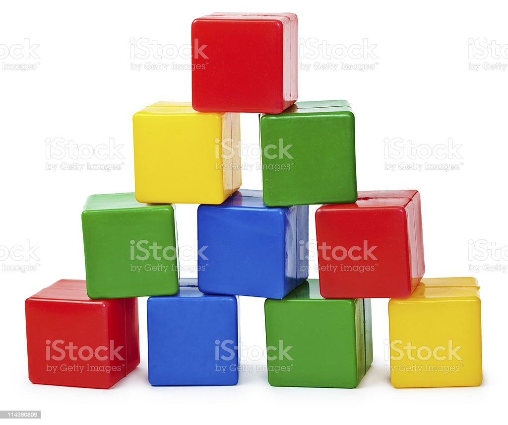 Curve pyramid from color cubes royalty-free stock photo