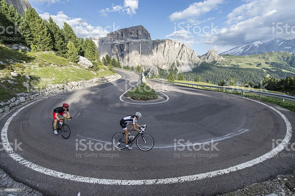Curve radius 360 degrees for road cyclists stock photo