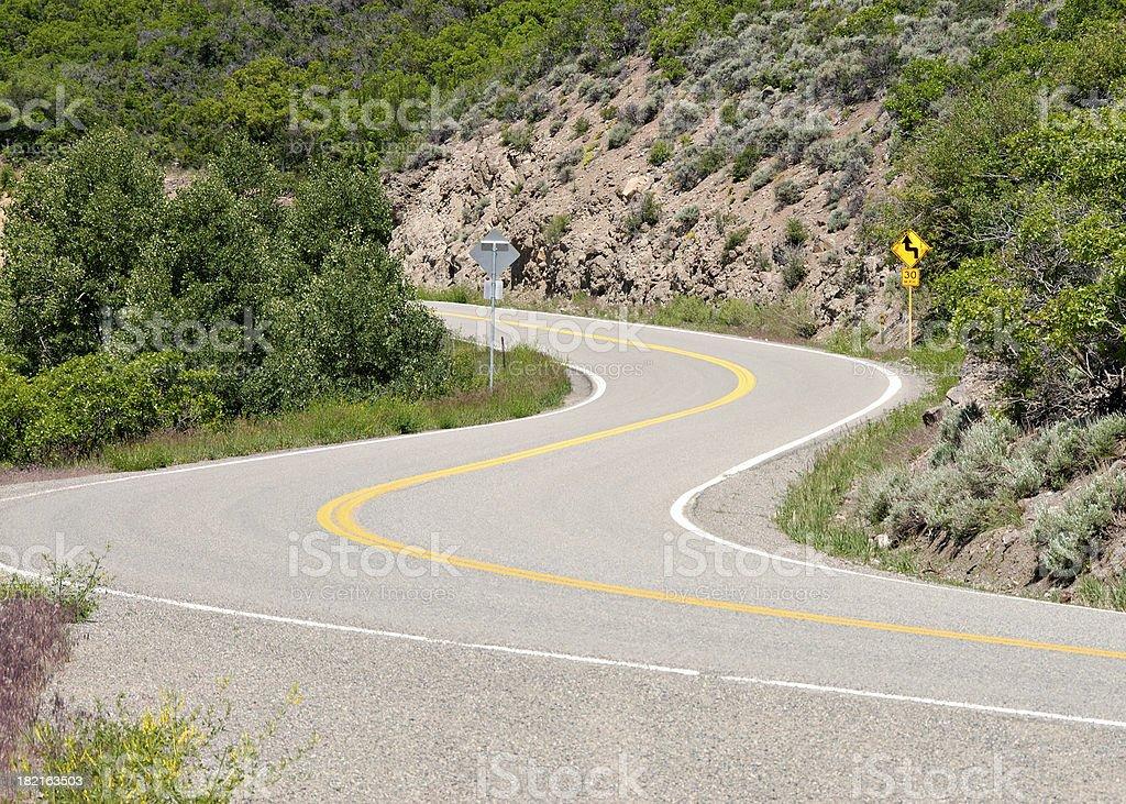 curve road in Colorado stock photo