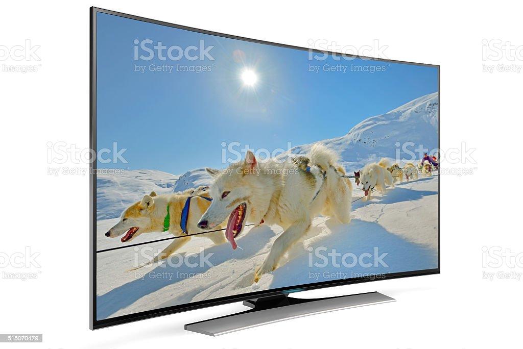 curve smart tv stock photo