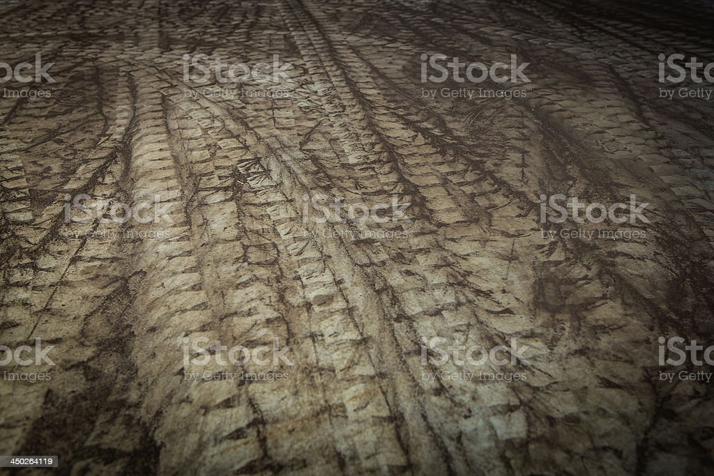 Curve tire track stock photo
