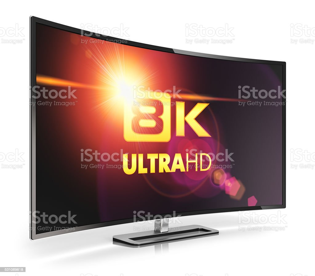 Curved 8K UltraHD TV stock photo
