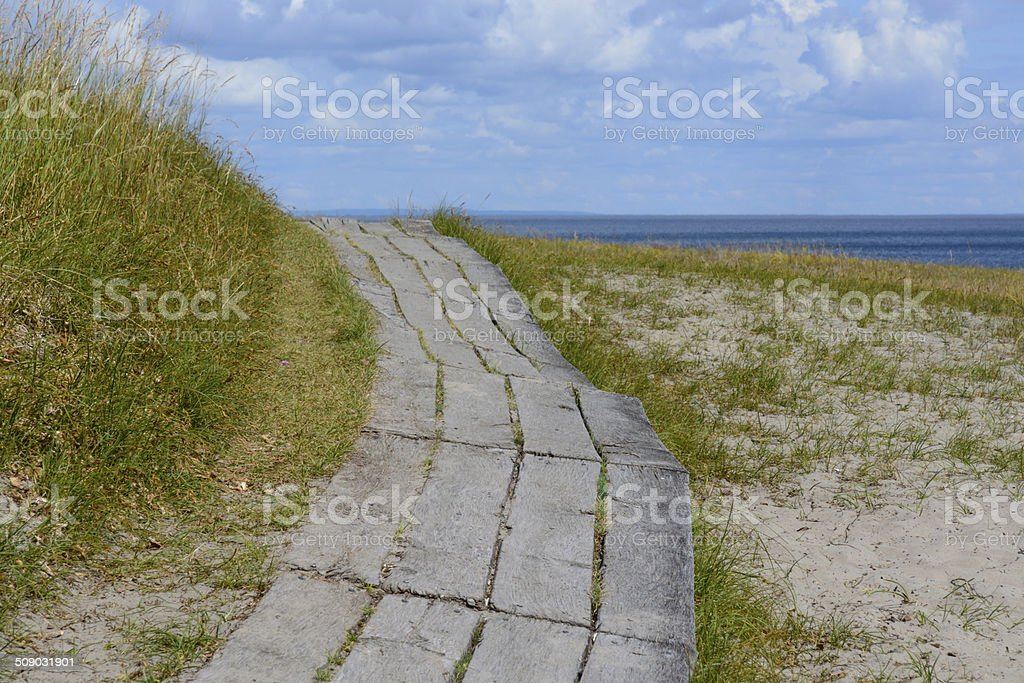 Curved boardwalk stock photo
