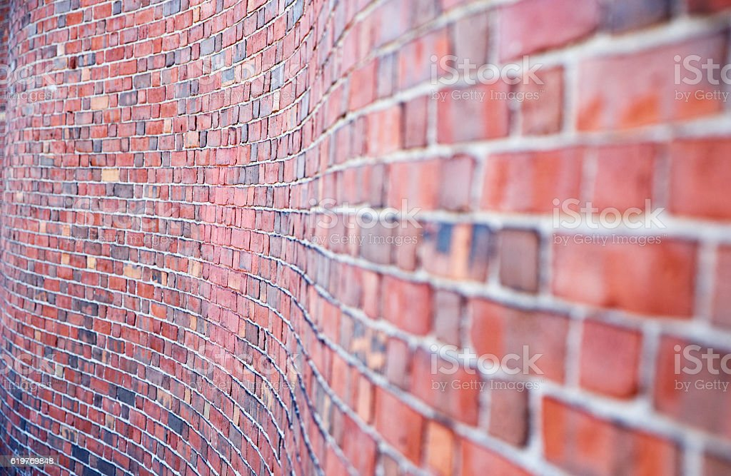 curved brick wall stock photo