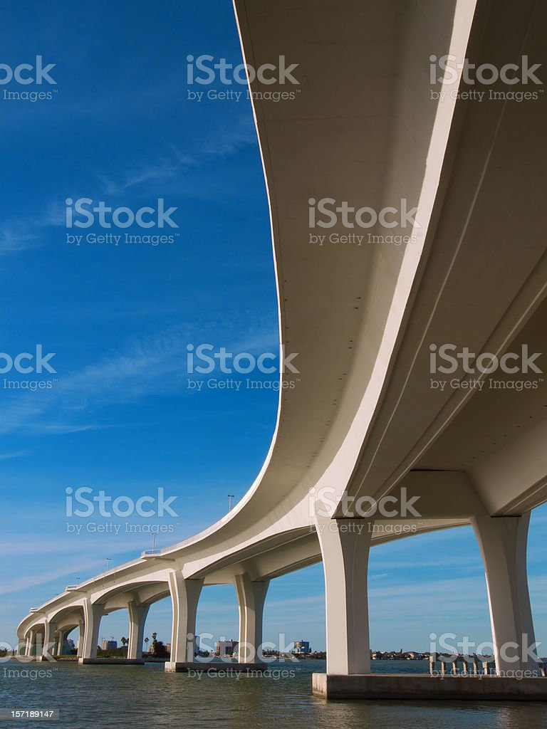 Curved Bridge Overpass over the water royalty-free stock photo