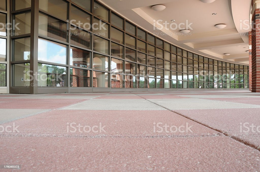 Curved covered walkway stock photo