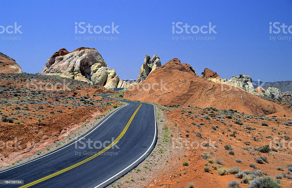 Curved Desert Road royalty-free stock photo