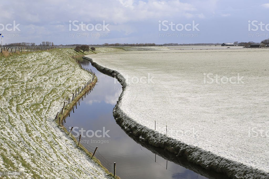 Curved Dyke And Canal royalty-free stock photo