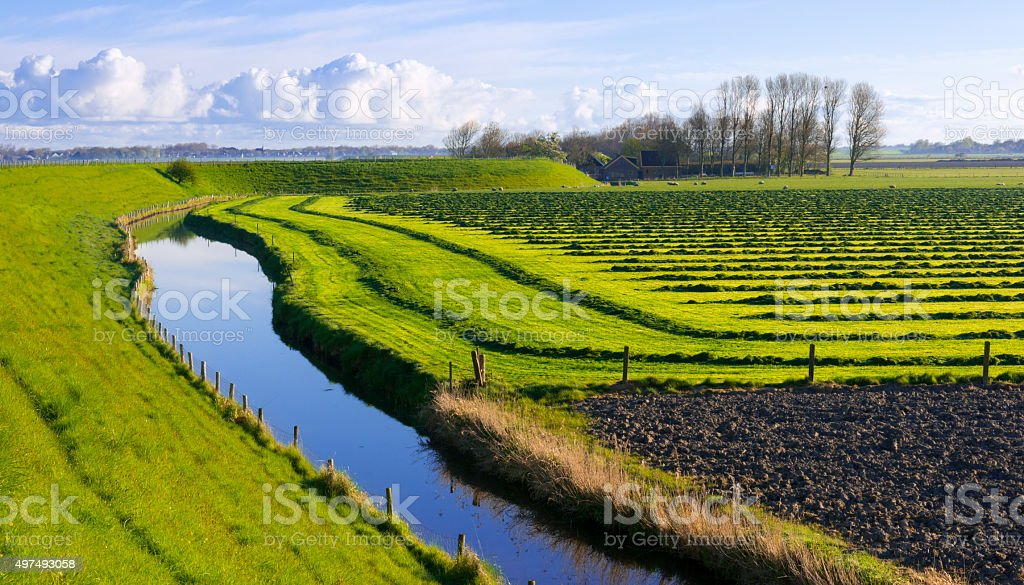 Curved Dyke and Polder stock photo