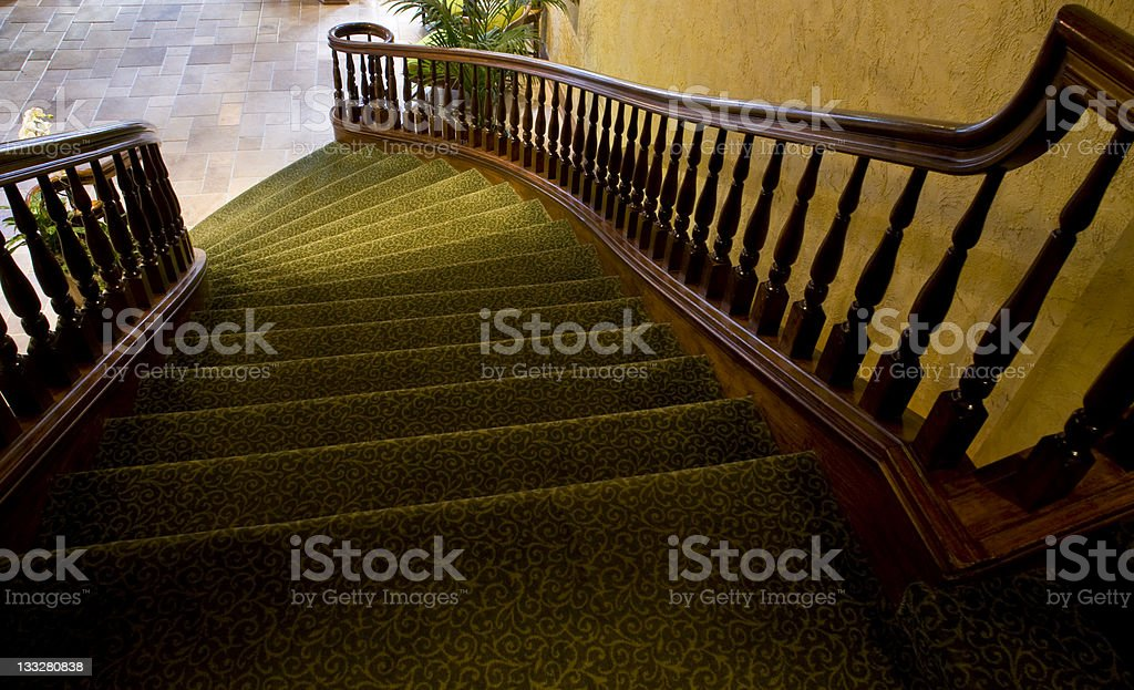 Curved Elegant Staircase Looking Down Steps Architectural Detail royalty-free stock photo