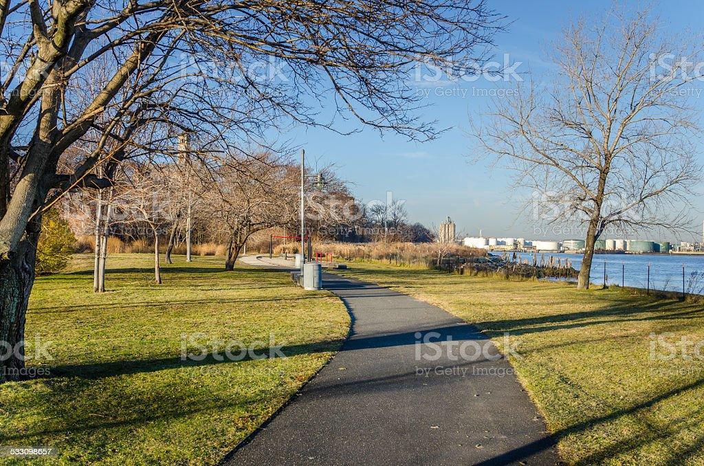 Curved Footpath alongside the coast stock photo