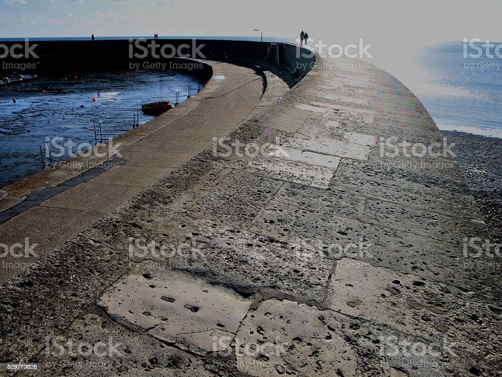 Curved Harbour Wall stock photo