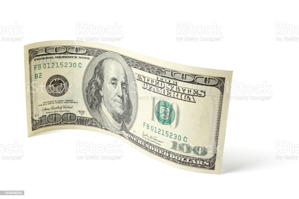 Curved Hundred Dollar Bill royalty-free stock photo
