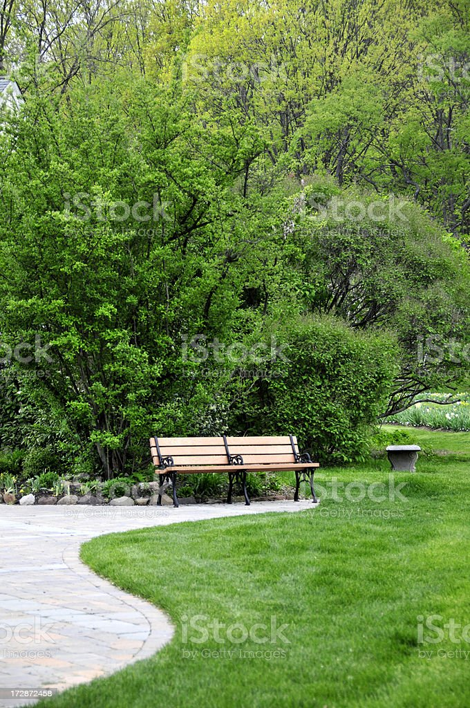 Curved Pavers and Bench royalty-free stock photo