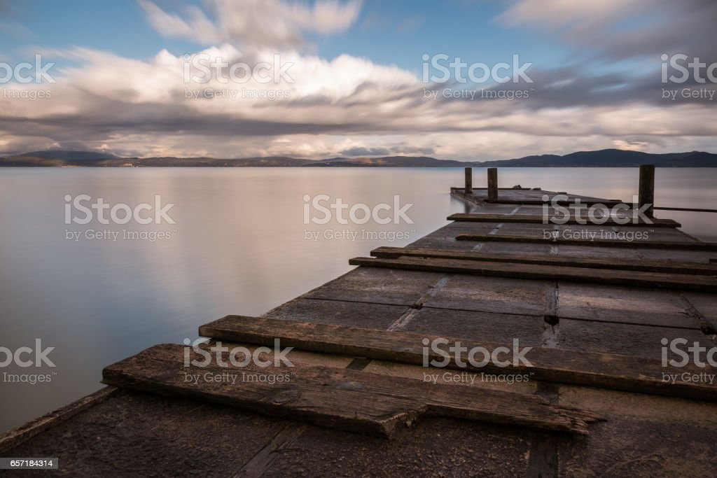 Curved pier stock photo