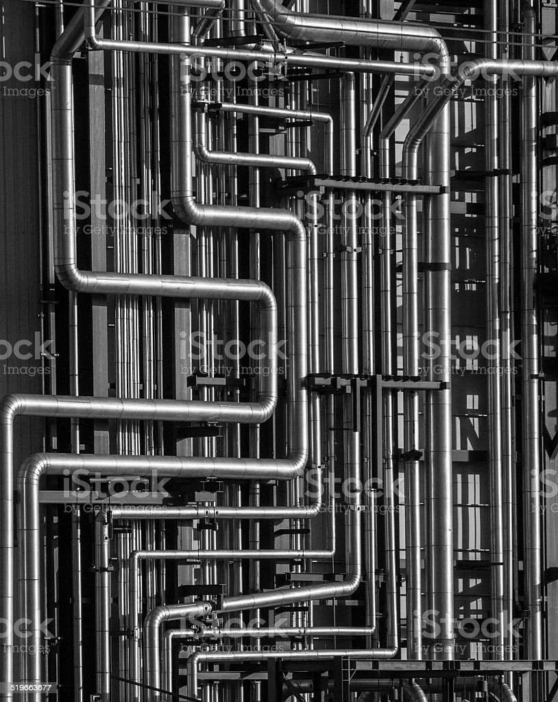 Curved pipes stock photo