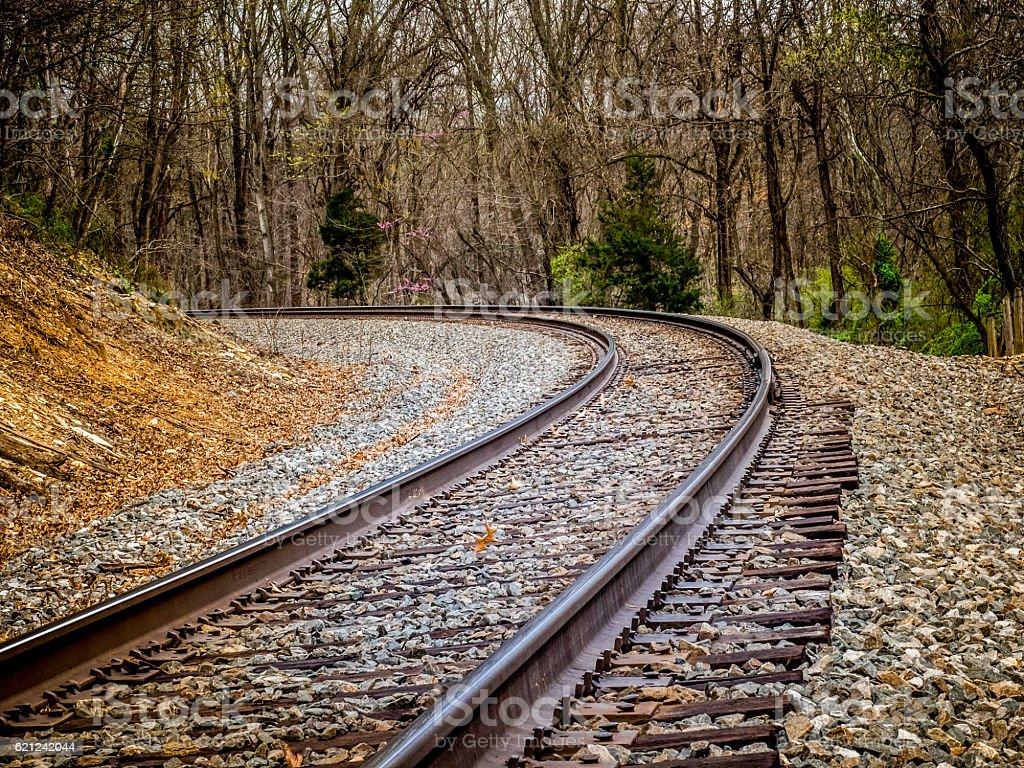 Curved Railroad Tracks stock photo