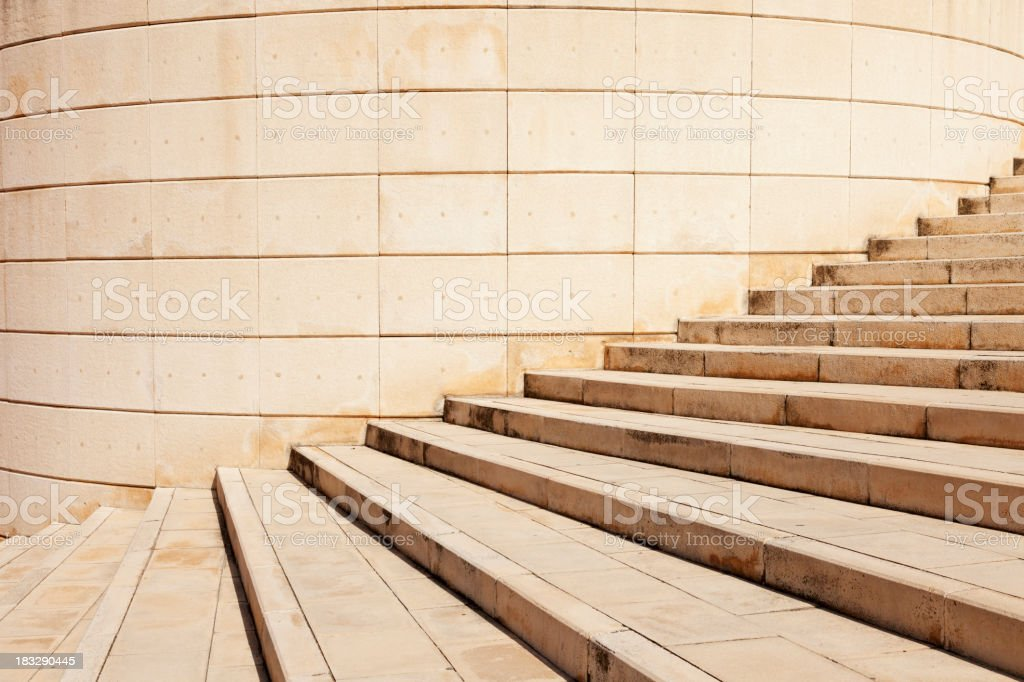 Curved steps leading upwards for tower royalty-free stock photo