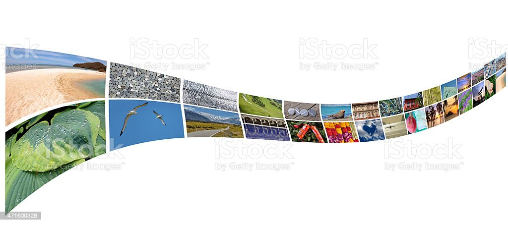 Curved stream of photos, isolated on white background stock photo