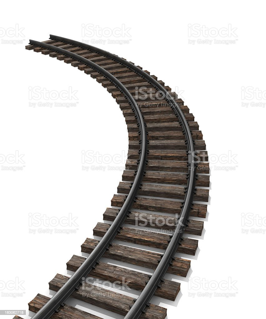 Curved train track with an end royalty-free stock photo