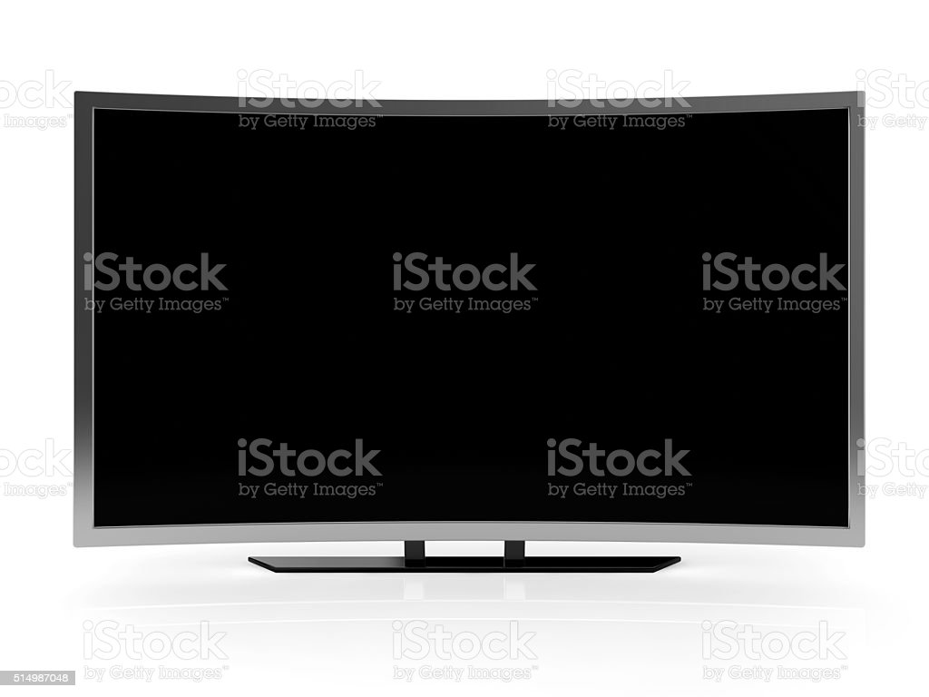 curved ultra hd tv blank screen stock photo