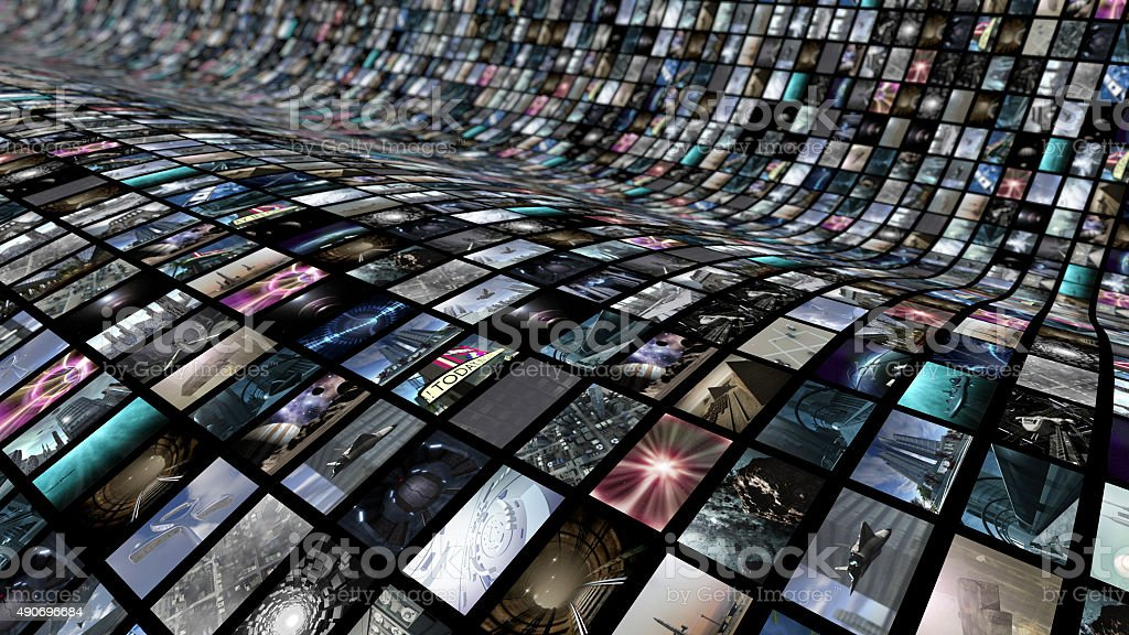 Curved video wall stock photo