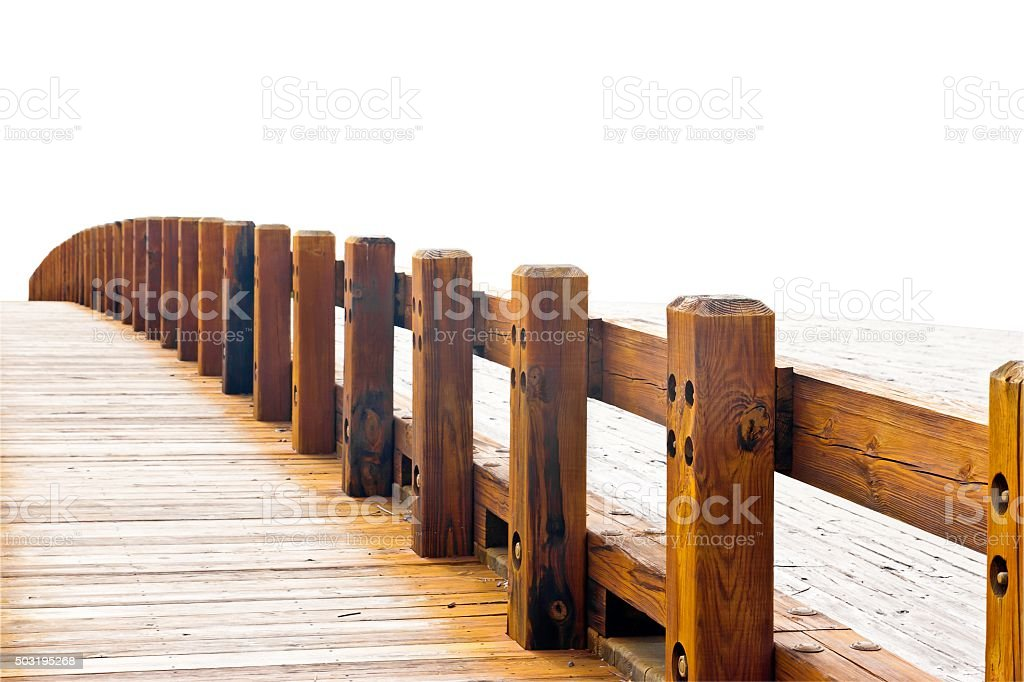 Curved wooden bridge isolated on white stock photo