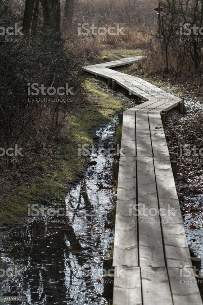 Curved wooden footpath stock photo