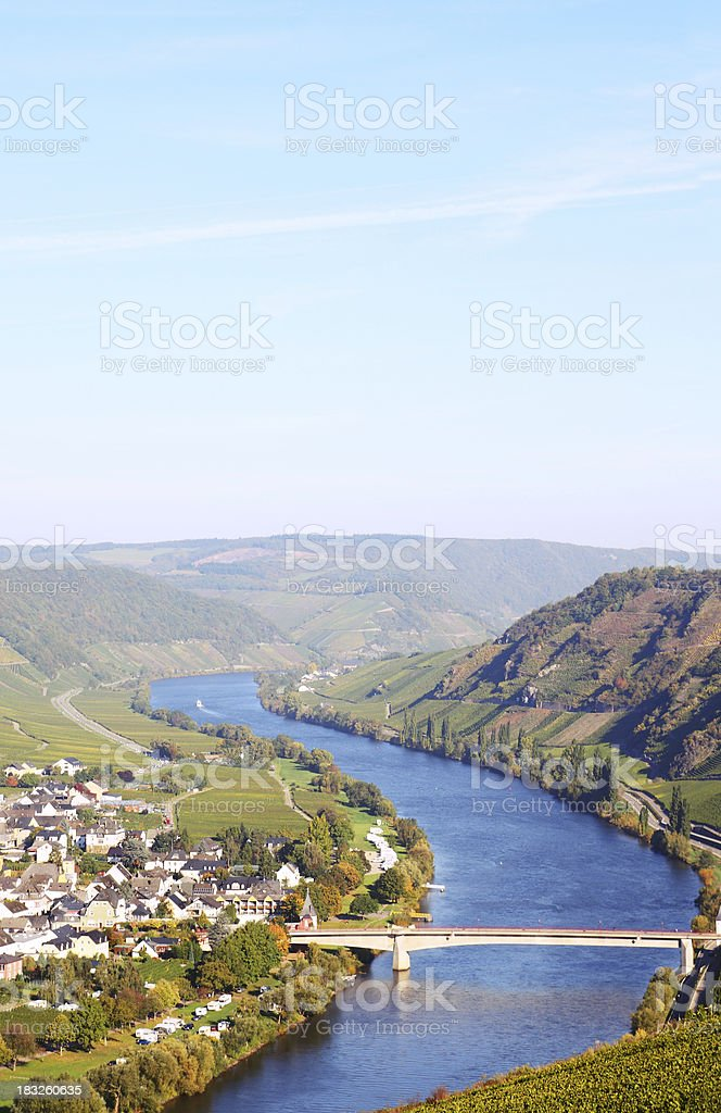 Curves of river Mosel with small village in vineyards stock photo