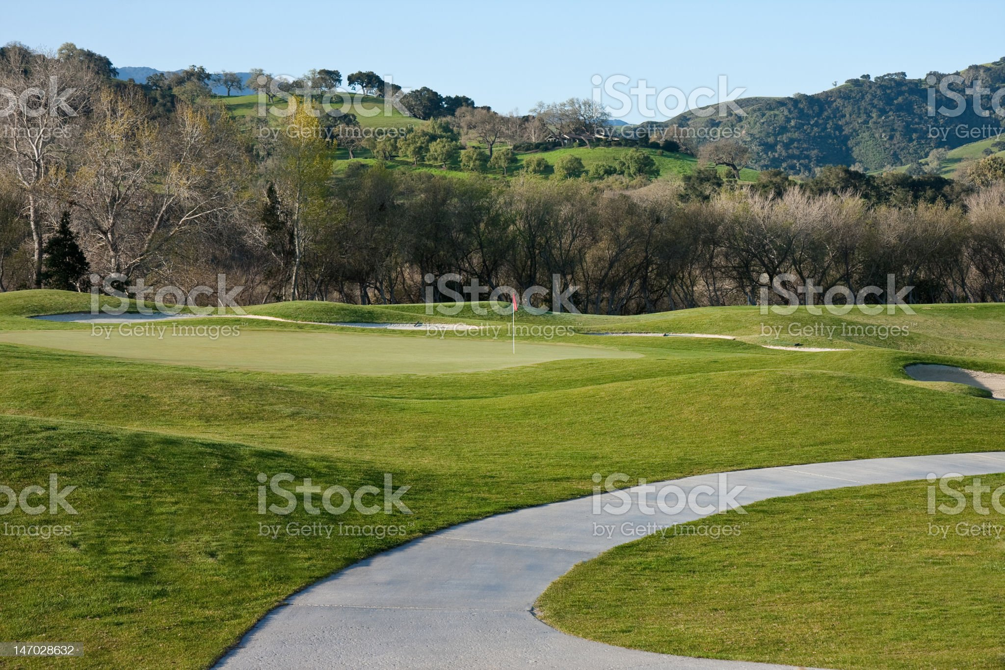 curving golf cart path to green royalty-free stock photo