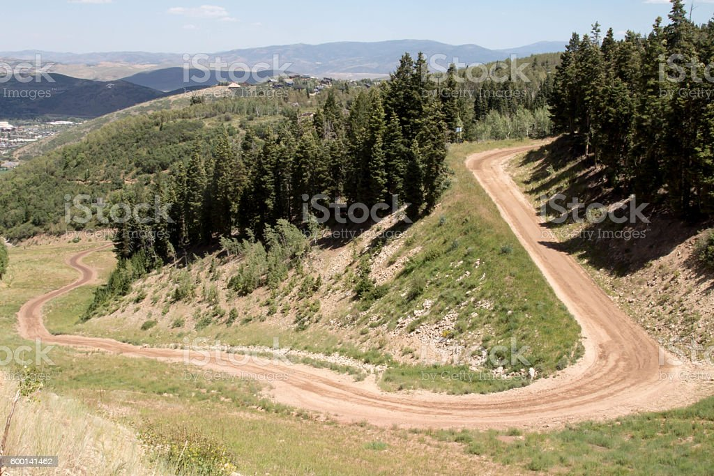 Curving mountain road in the Wasatch mountains stock photo