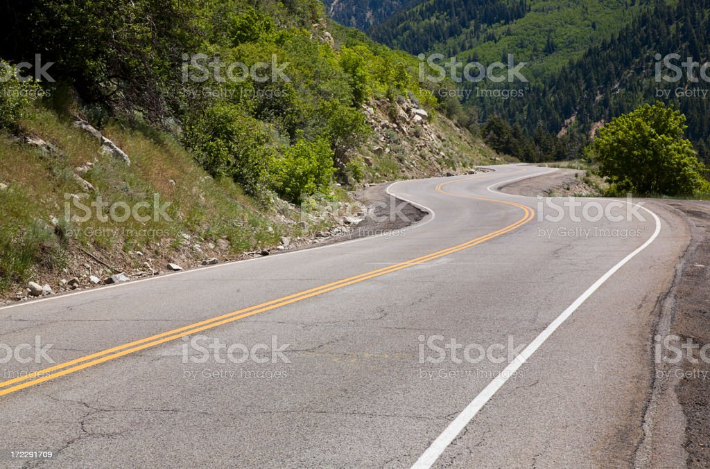 Curving Mountain Road stock photo