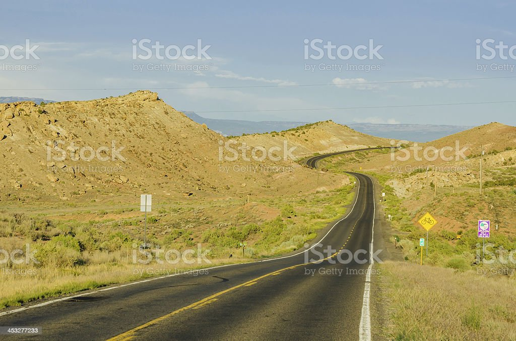 Curving Road at Sunset stock photo