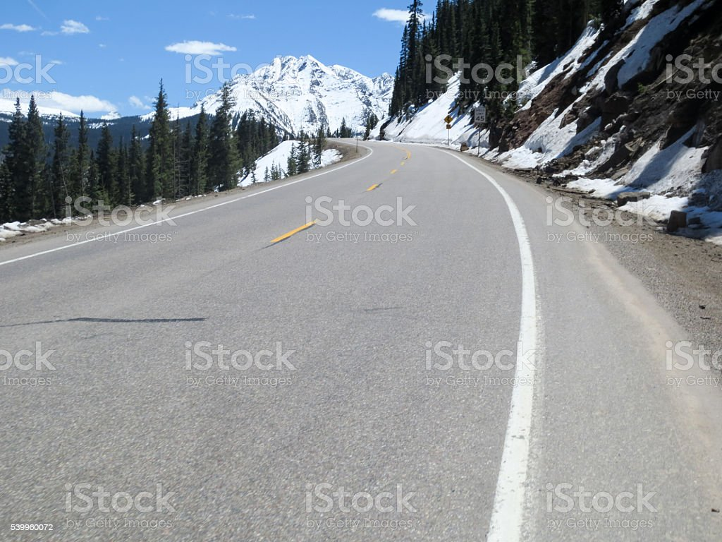 Curving road through the mountains, million dollar highway stock photo