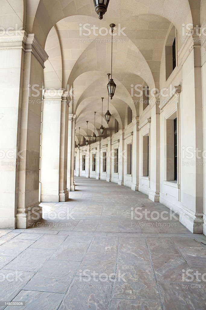 Curving Sandstone Colonnade at the EPA Building Washington DC royalty-free stock photo