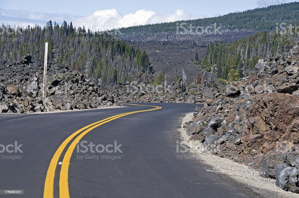 Curving summit road at pass in central Oregon stock photo