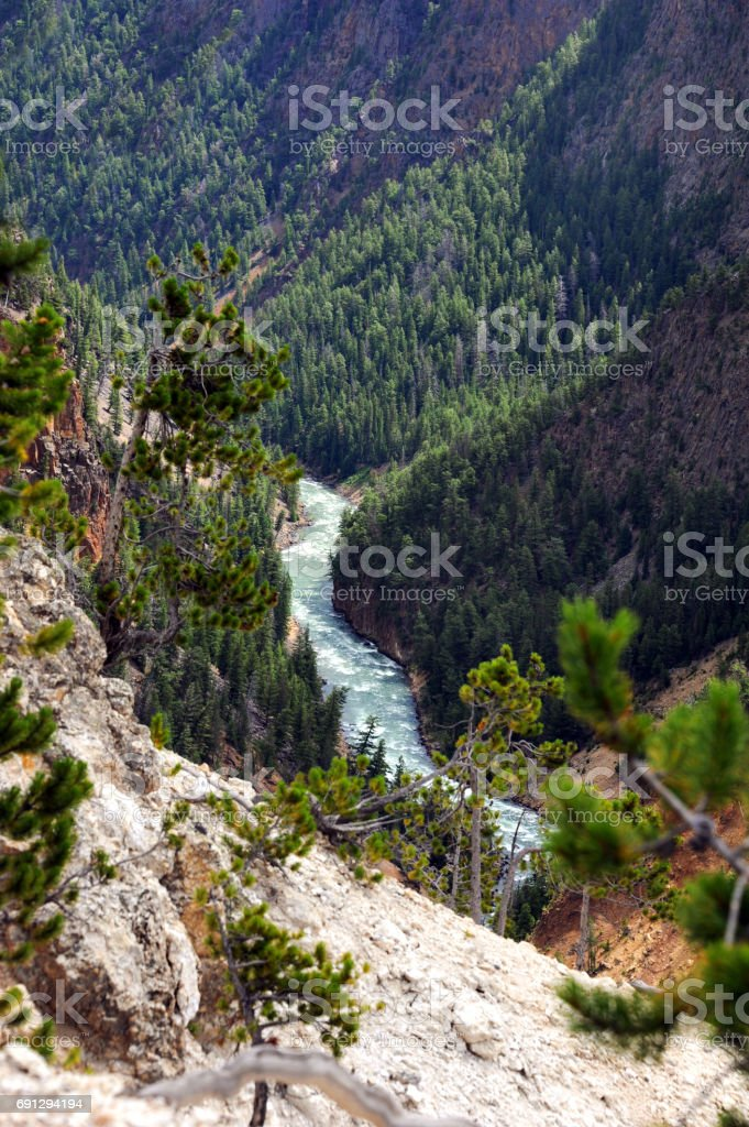 Curving Yellowstone River stock photo