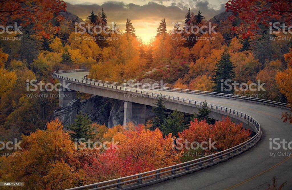 Curvy autumn road stock photo