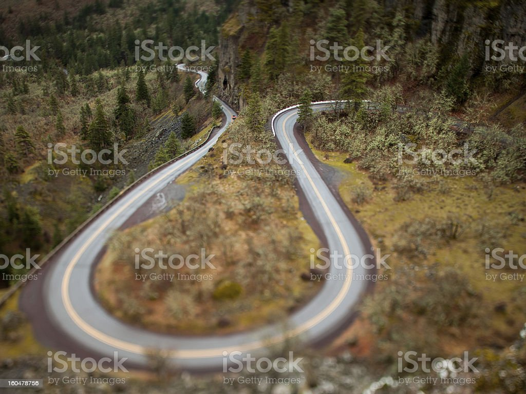 Curvy Road from Rowena Crest Viewpoint Oregon stock photo