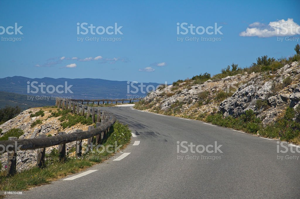 Curvy road in France, Calanques stock photo