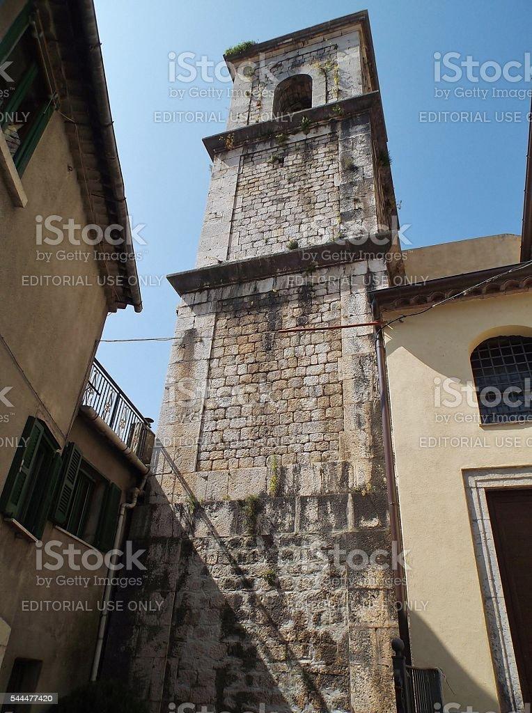 Cusano Mutri - Campanile della chiesa di San Nicola stock photo