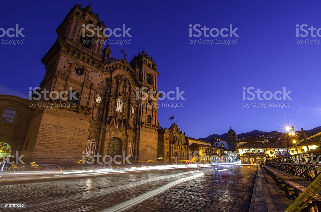 Cusco cathedral stock photo