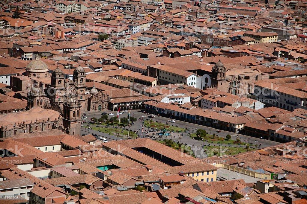 Cusco central square air photo (drone) stock photo